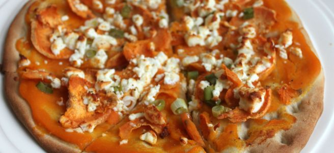 Zoete aardappelpizza