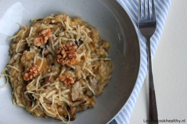 Risotto met champignons en pompoen
