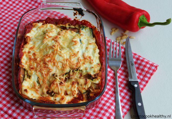 Lasagne met bonenpasta courgette en puntpaprika